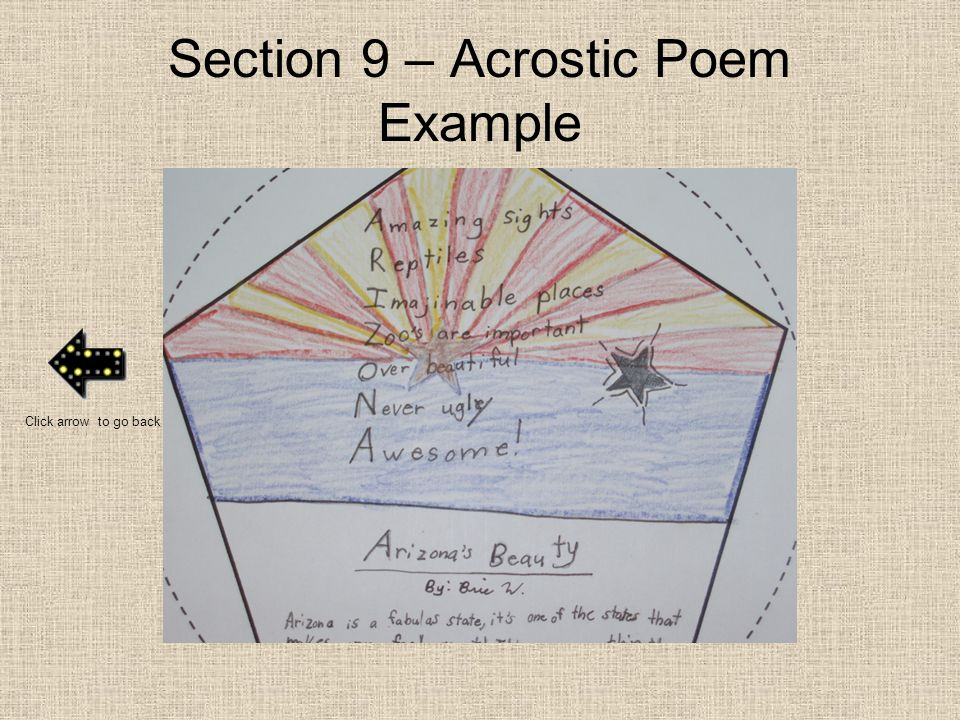 Section 9 – Acrostic Poem Example Click arrow to go back