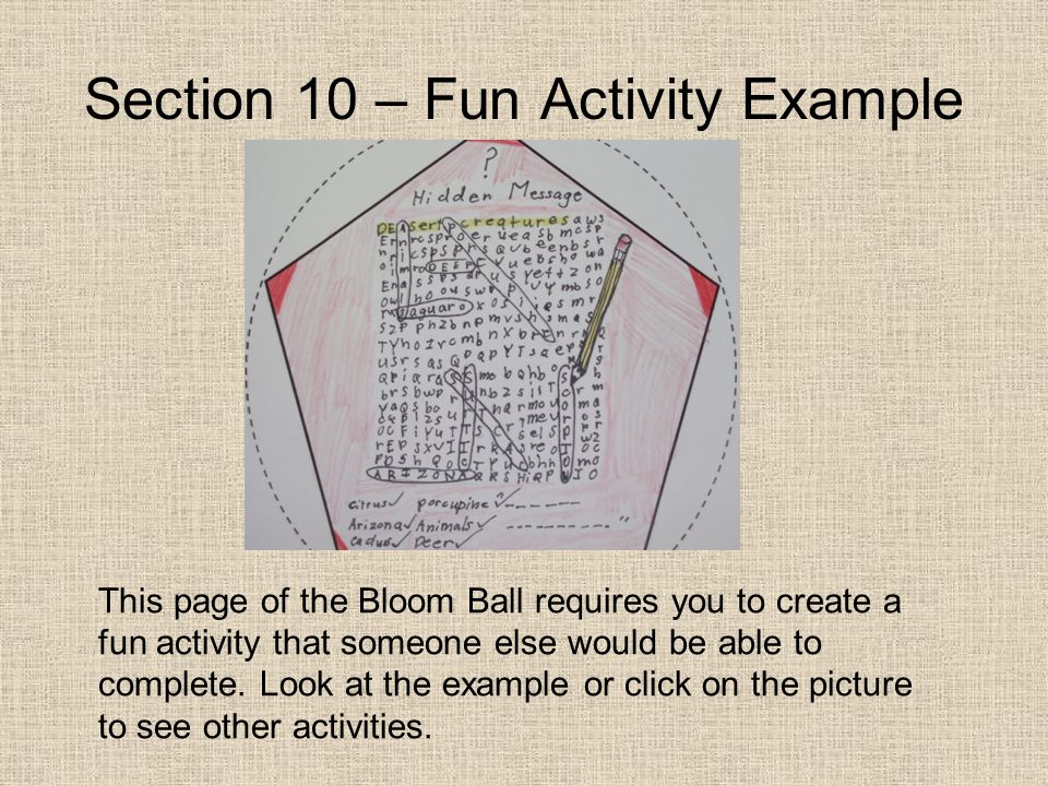 Section 10 – Fun Activity Example This page of the Bloom Ball requires you to create a fun activity that someone else would be able to complete. Look