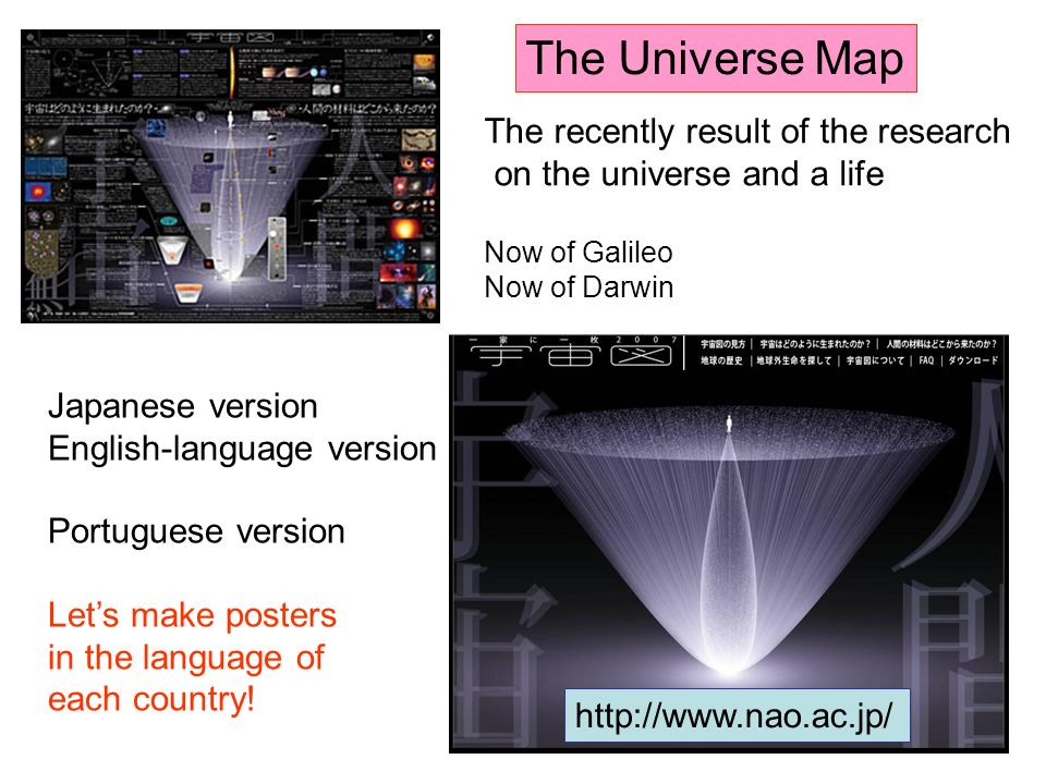 The Universe Map Japanese version English-language version Portuguese version Lets make posters in the language of each country.