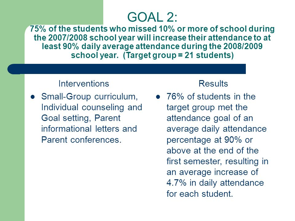 GOAL 2: 75% of the students who missed 10% or more of school during the 2007/2008 school year will increase their attendance to at least 90% daily average attendance during the 2008/2009 school year.