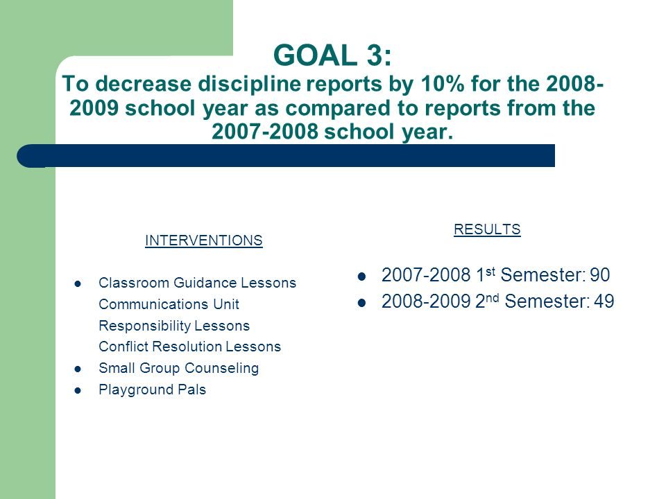GOAL 3: To decrease discipline reports by 10% for the 2008- 2009 school year as compared to reports from the 2007-2008 school year.