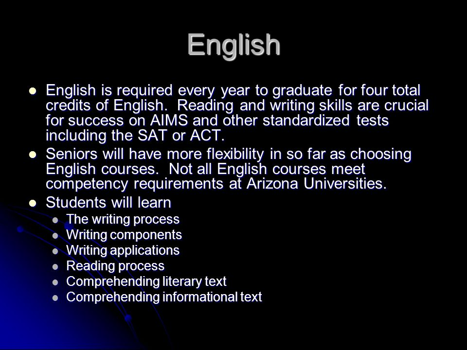 English English is required every year to graduate for four total credits of English. Reading and writing skills are crucial for success on AIMS and o