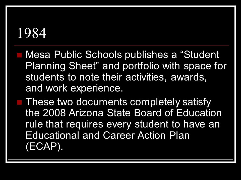 1984 Mesa Public Schools publishes a Student Planning Sheet and portfolio with space for students to note their activities, awards, and work experience.