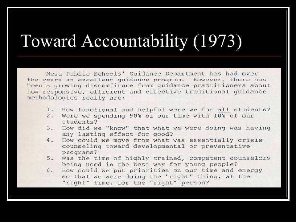 Toward Accountability (1973)
