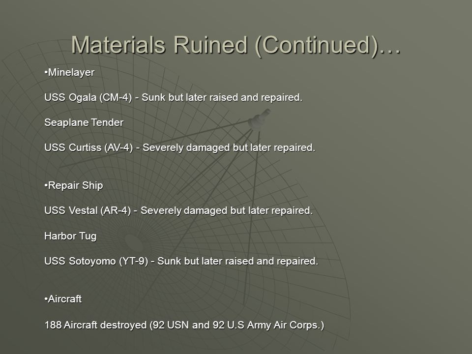 Materials Ruined (Continued)… Minelayer USS Ogala (CM-4) - Sunk but later raised and repaired.