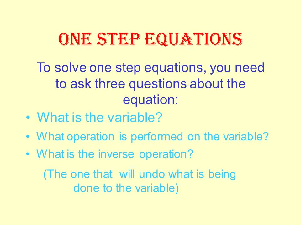 What you do to one side of the equation must also be done to the other side to keep it balanced. An equation is like a balance scale because it shows