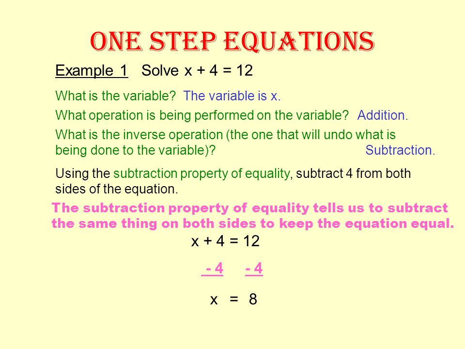 ONE STEP EQUATIONS What is the variable? To solve one step equations, you need to ask three questions about the equation: What operation is performed