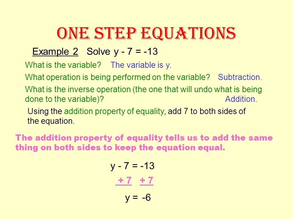 ONE STEP EQUATIONS Example 1 Solve x + 4 = 12 What is the variable? Using the subtraction property of equality, subtract 4 from both sides of the equa