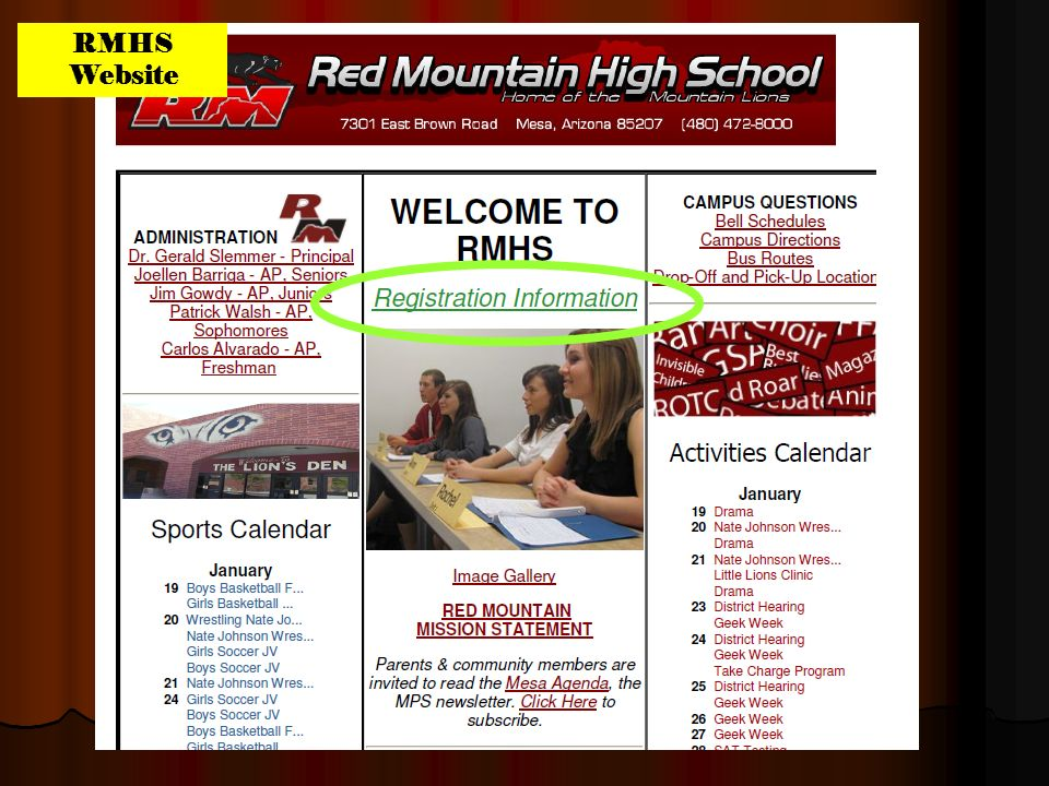 Registration Information RMHS Website