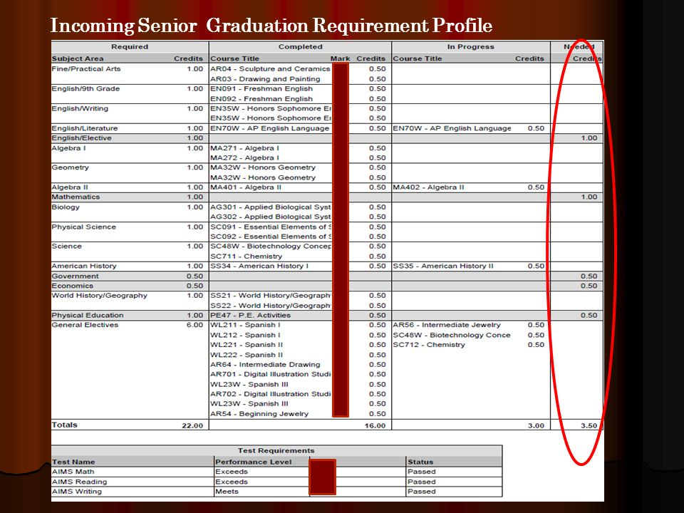 Incoming Senior Graduation Requirement Profile
