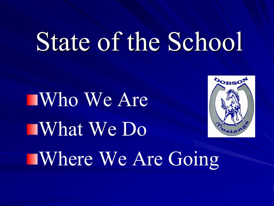 Who We Are What We Do Where We Are Going State of the School