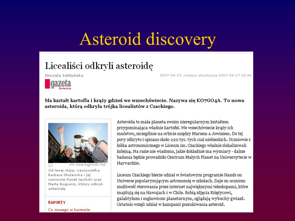 Asteroid discovery