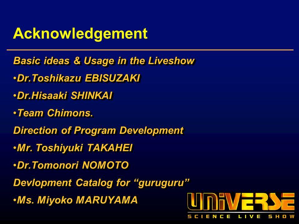 Acknowledgement Basic ideas & Usage in the Liveshow Dr.Toshikazu EBISUZAKIDr.Toshikazu EBISUZAKI Dr.Hisaaki SHINKAIDr.Hisaaki SHINKAI Team Chimons.Team Chimons.