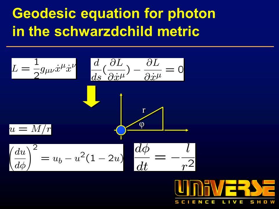 Geodesic equation for photon in the schwarzdchild metric φ φ r r