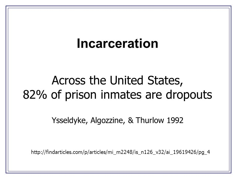 Incarceration Across the United States, 82% of prison inmates are dropouts Ysseldyke, Algozzine, & Thurlow 1992 http://findarticles.com/p/articles/mi_m2248/is_n126_v32/ai_19619426/pg_4
