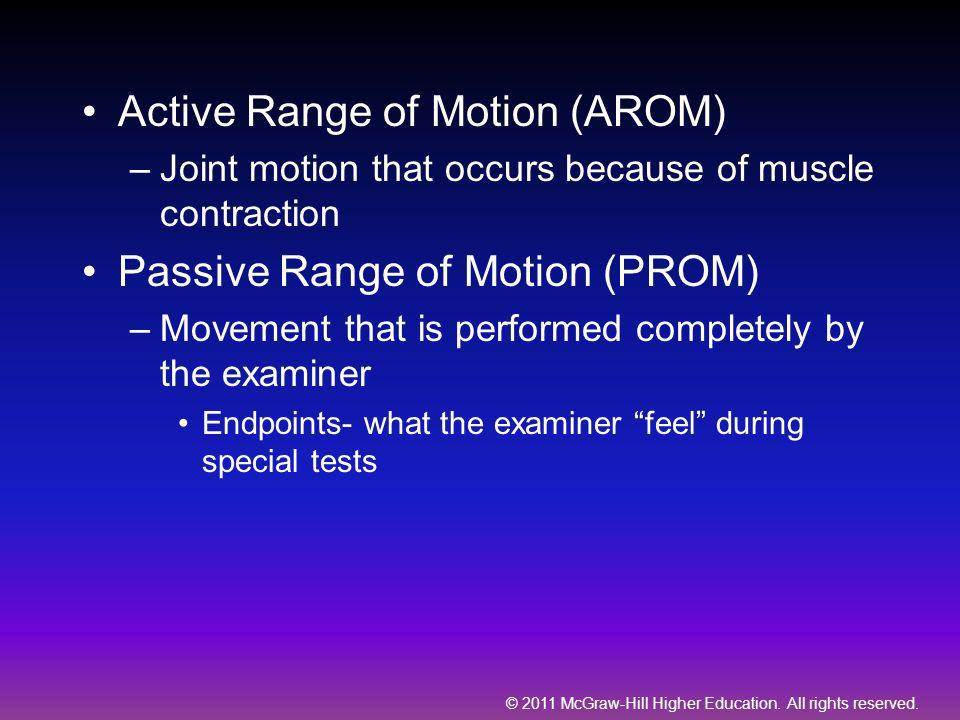© 2011 McGraw-Hill Higher Education. All rights reserved. Active Range of Motion (AROM) –Joint motion that occurs because of muscle contraction Passiv