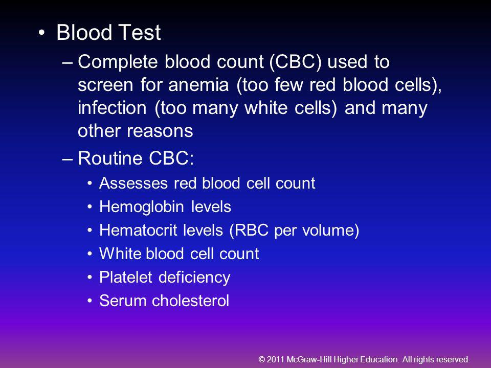 © 2011 McGraw-Hill Higher Education. All rights reserved. Blood Test –Complete blood count (CBC) used to screen for anemia (too few red blood cells),