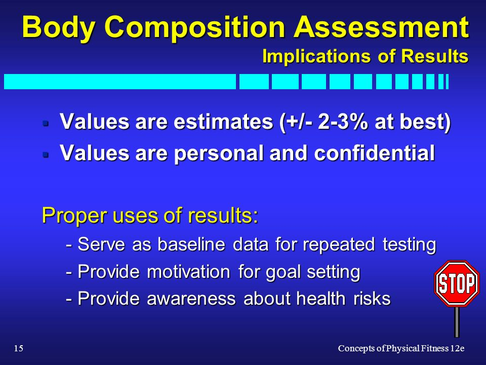 15Concepts of Physical Fitness 12e Body Composition Assessment Implications of Results Values are estimates (+/- 2-3% at best) Values are estimates (+/- 2-3% at best) Values are personal and confidential Values are personal and confidential Proper uses of results: - Serve as baseline data for repeated testing - Provide motivation for goal setting - Provide awareness about health risks