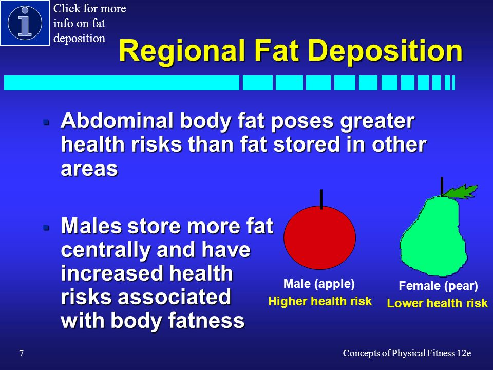 7Concepts of Physical Fitness 12e Regional Fat Deposition Abdominal body fat poses greater health risks than fat stored in other areas Abdominal body fat poses greater health risks than fat stored in other areas Males store more fat centrally and have increased health risks associated with body fatness Males store more fat centrally and have increased health risks associated with body fatness Higher health risk Lower health risk Male (apple) Female (pear) Click for more info on fat deposition
