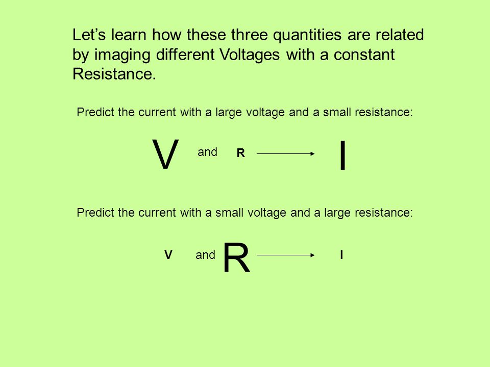 Lets learn how these three quantities are related by imaging different Voltages with a constant Resistance. Predict the current with a large voltage a