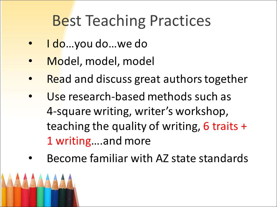 Best Teaching Practices I do…you do…we do Model, model, model Read and discuss great authors together Use research-based methods such as 4-square writ