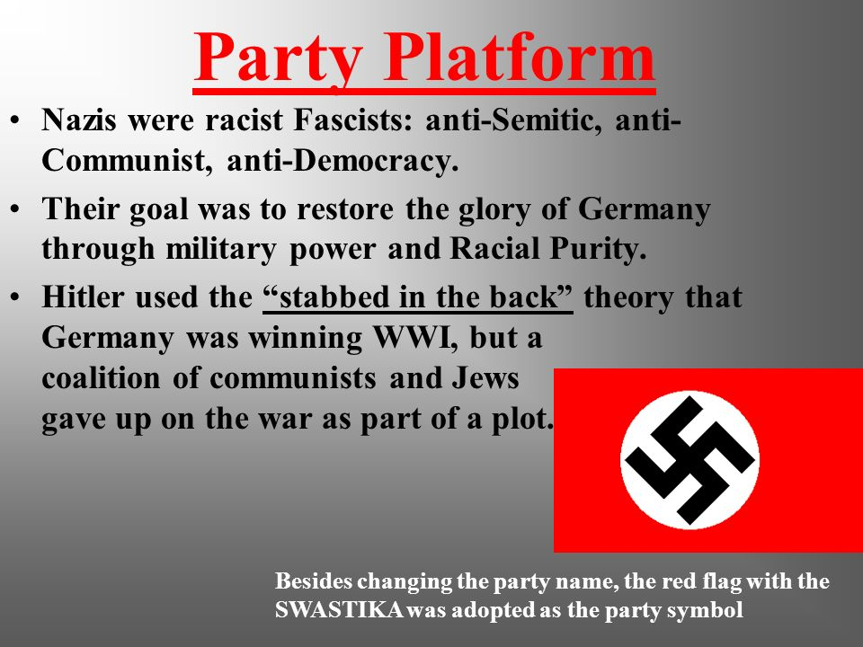 NAZI Party is Formed Hitler began to think big for the German Workers Party Began placing ads for meetings in anti-Semitic newspapers Hitler changed t
