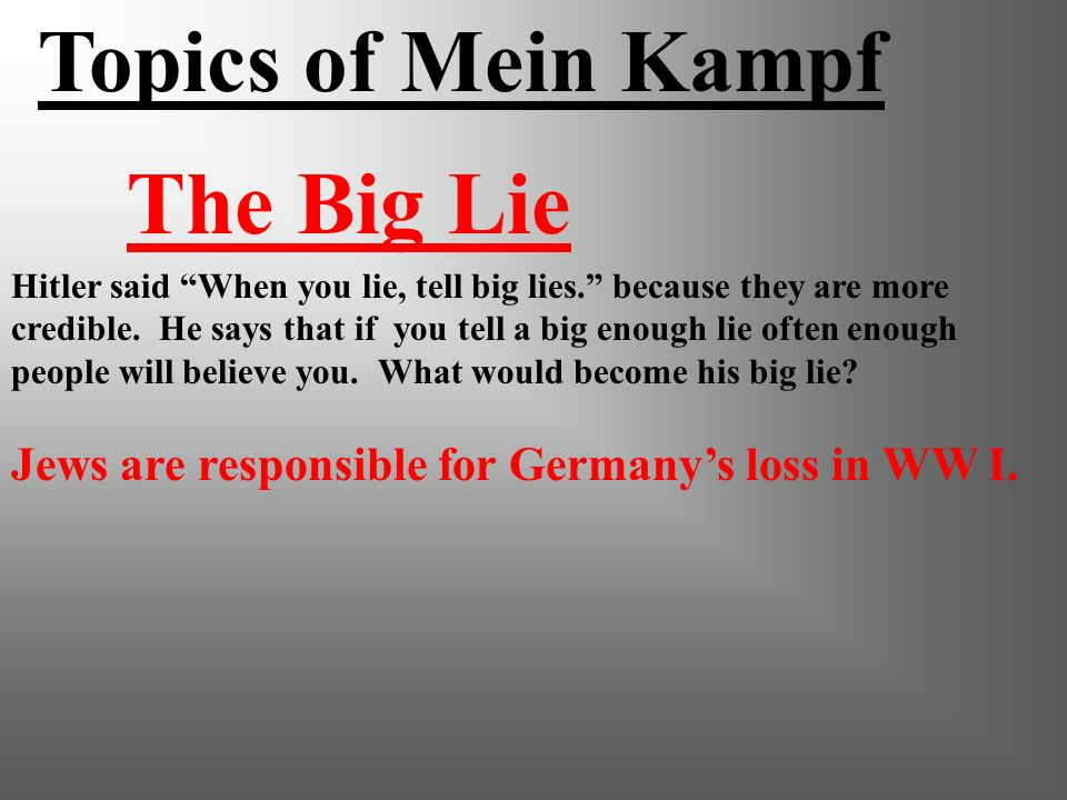 Mein Kampf Hitlers book My Struggle - wrote while in jail Sold 5 million copies, made him rich