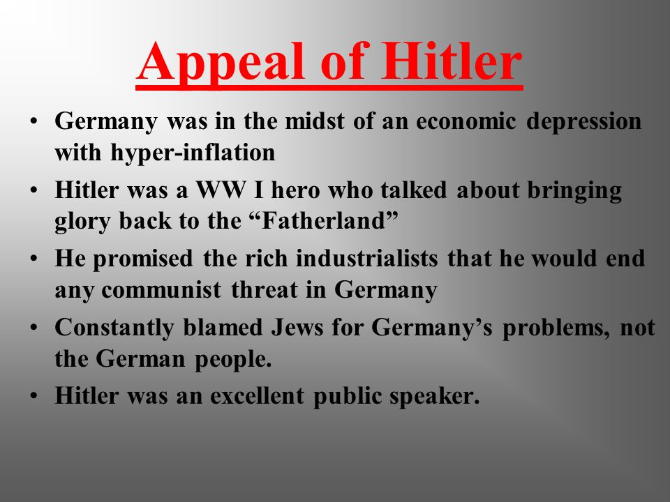 1929 After being ignored during the 1920s, the Nazi party becomes popular during the worldwide depression Hitler called himself Der Fuhrer – the leade