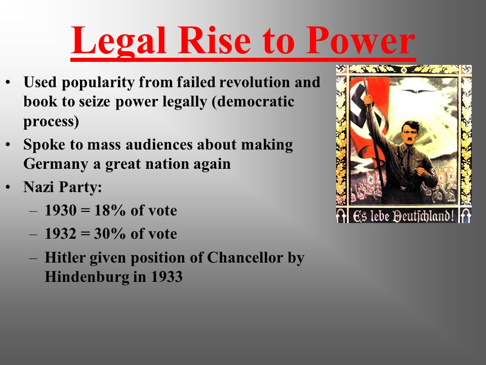 1932 - 1933 People questioned the harsh tactics of the Nazis, but Hitler puts on a show using the democratic process to destroy German Democracy.