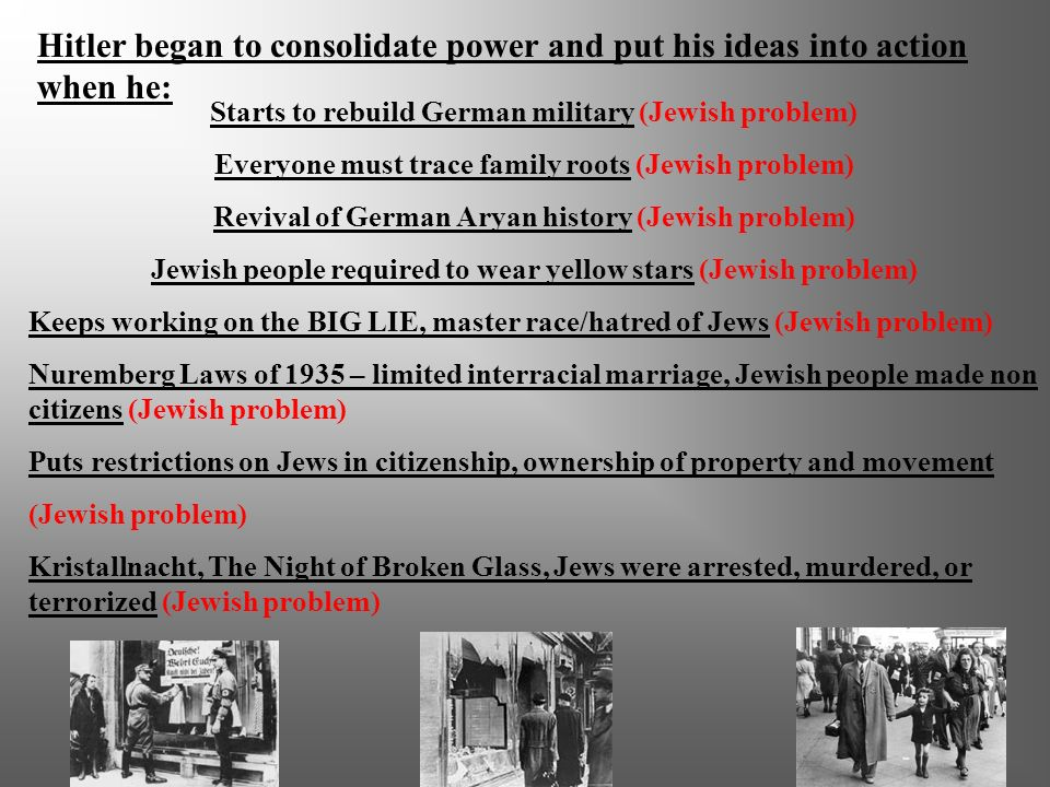 Hitler began to consolidate power and put his ideas into action when he: Taxes Jews to raise money (Power, Jewish problem Advance Germ Nation) Creates