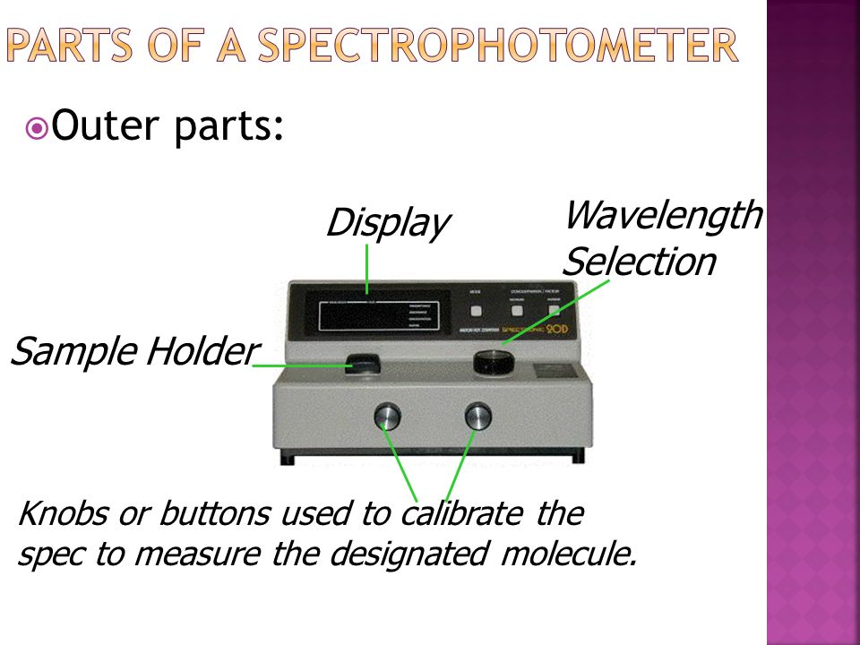 Visible spectrophotometer white light Contains a tungsten lamp that produces white light. Ultraviolet spectrophotometer Contains a deuterium lamp that