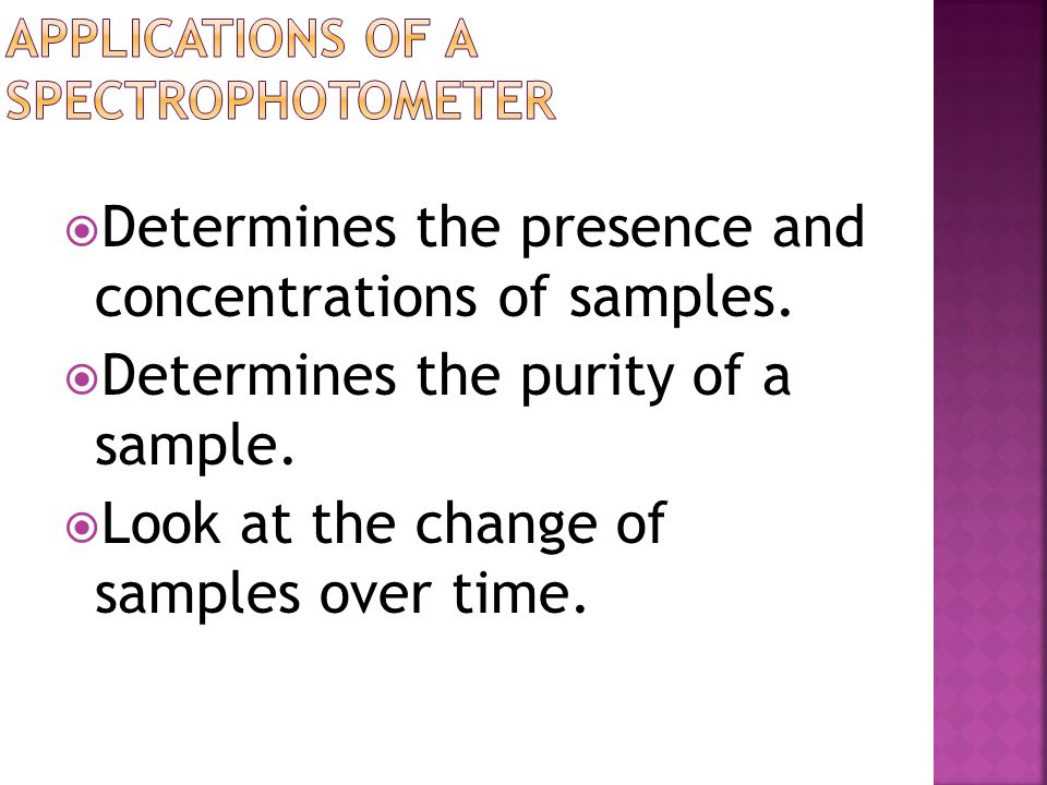 The concentration of molecules in a solution affects the solutions absorbance. Remember [ ] is a ratio – when we change one number – it affects the ra