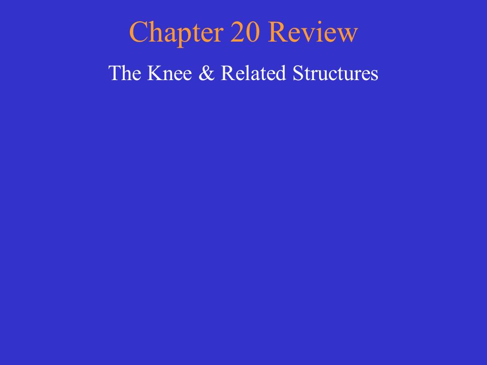 Chapter 20 Review The Knee & Related Structures