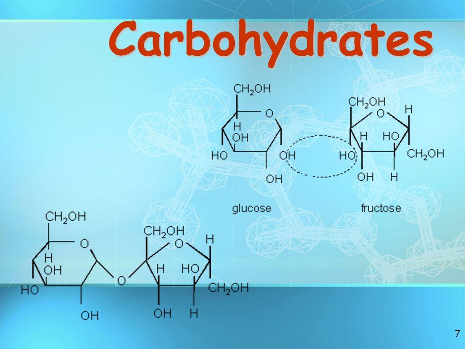 8 Carbohydrates Small sugar moleculeslarge sugar moleculesSmall sugar molecules to large sugar molecules.