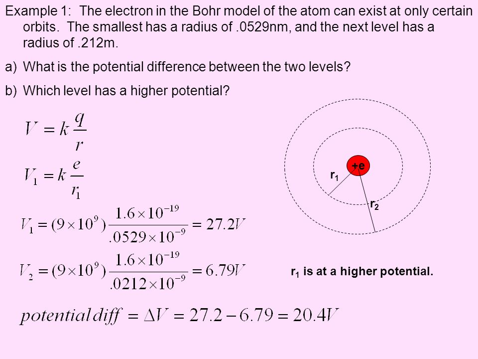 Example 1: The electron in the Bohr model of the atom can exist at only certain orbits. The smallest has a radius of.0529nm, and the next level has a