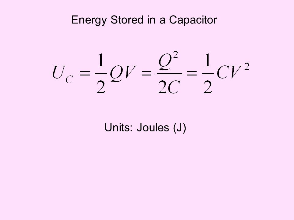 Energy Stored in a Capacitor Units: Joules (J)