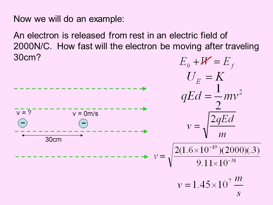 Now we will do an example: An electron is released from rest in an electric field of 2000N/C. How fast will the electron be moving after traveling 30c