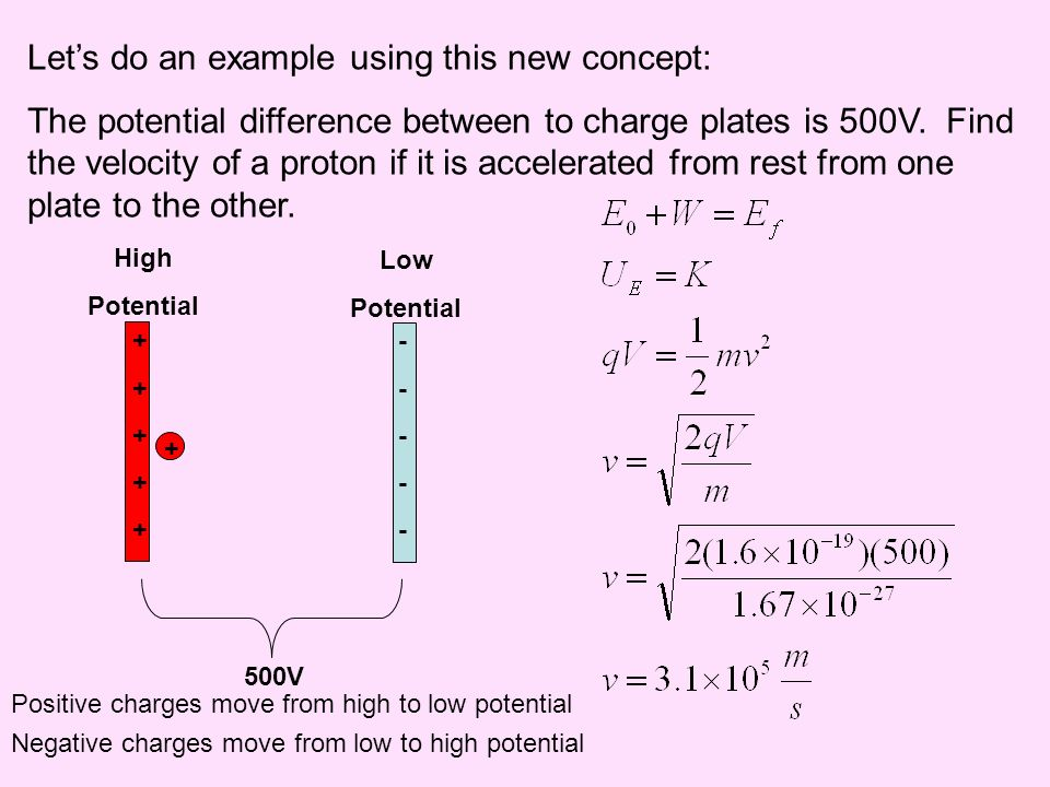 Lets do an example using this new concept: The potential difference between to charge plates is 500V. Find the velocity of a proton if it is accelerat