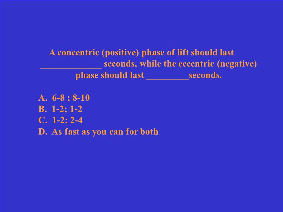 For an isomteric exercise, one should hold the contraction for: A.