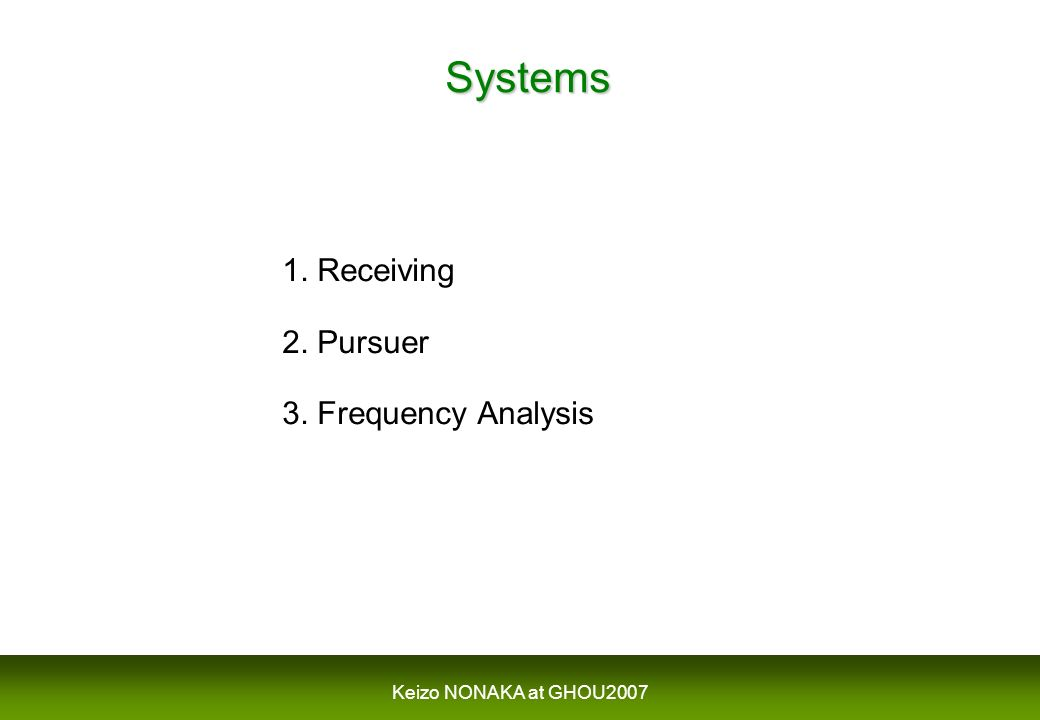 Systems 1. Receiving 2. Pursuer 3. Frequency Analysis