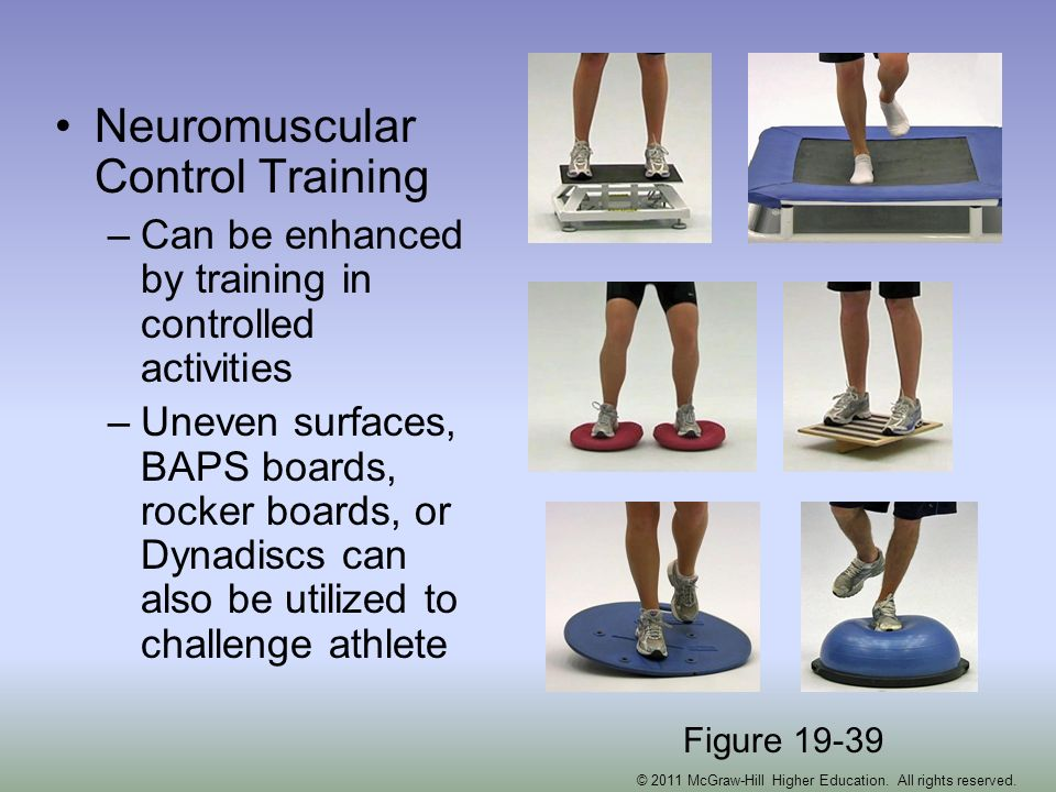 Neuromuscular Control Training –Can be enhanced by training in controlled activities –Uneven surfaces, BAPS boards, rocker boards, or Dynadiscs can al
