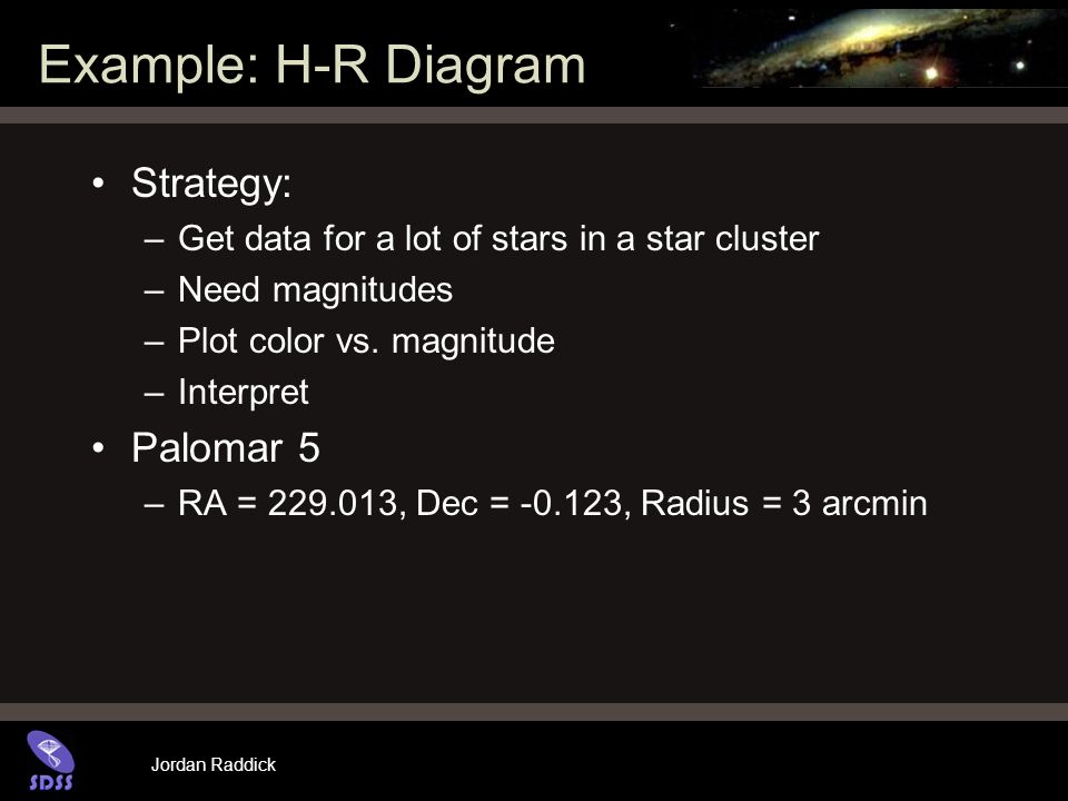 Jordan Raddick Example: H-R Diagram Strategy: –Get data for a lot of stars in a star cluster –Need magnitudes –Plot color vs.