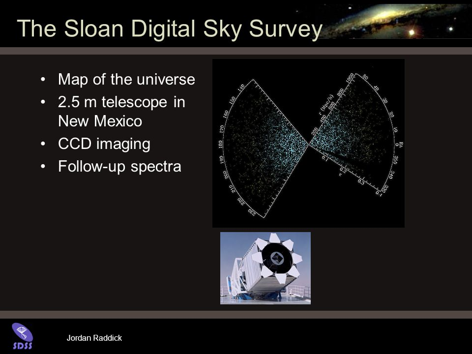 Jordan Raddick The Sloan Digital Sky Survey Map of the universe 2.5 m telescope in New Mexico CCD imaging Follow-up spectra