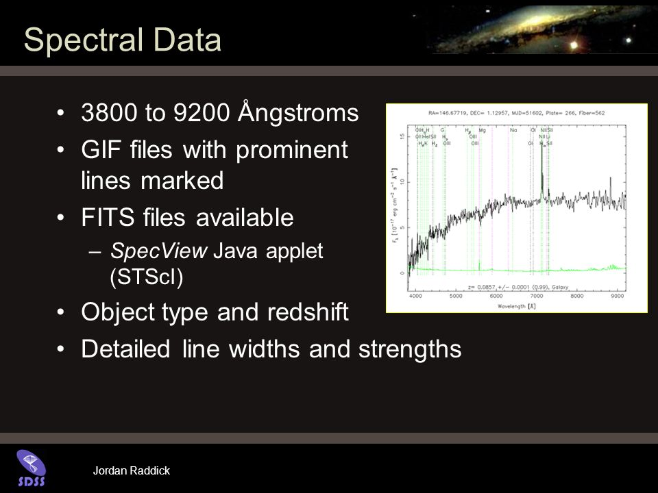 Jordan Raddick Spectral Data 3800 to 9200 Ångstroms GIF files with prominent lines marked FITS files available –SpecView Java applet (STScI) Object type and redshift Detailed line widths and strengths