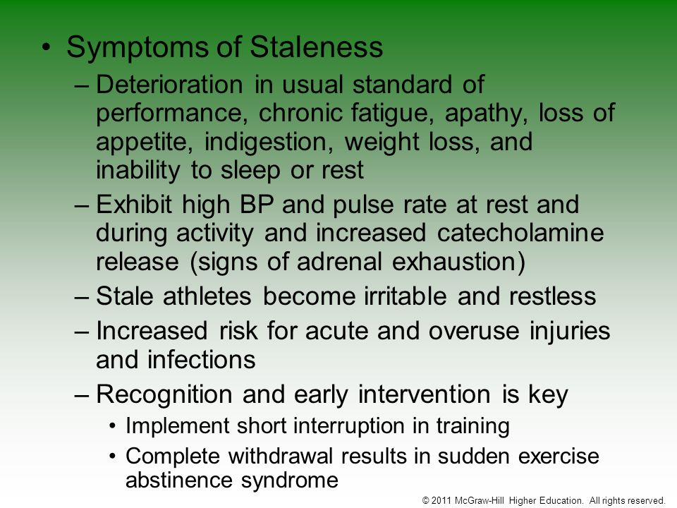 Symptoms of Staleness –Deterioration in usual standard of performance, chronic fatigue, apathy, loss of appetite, indigestion, weight loss, and inabil