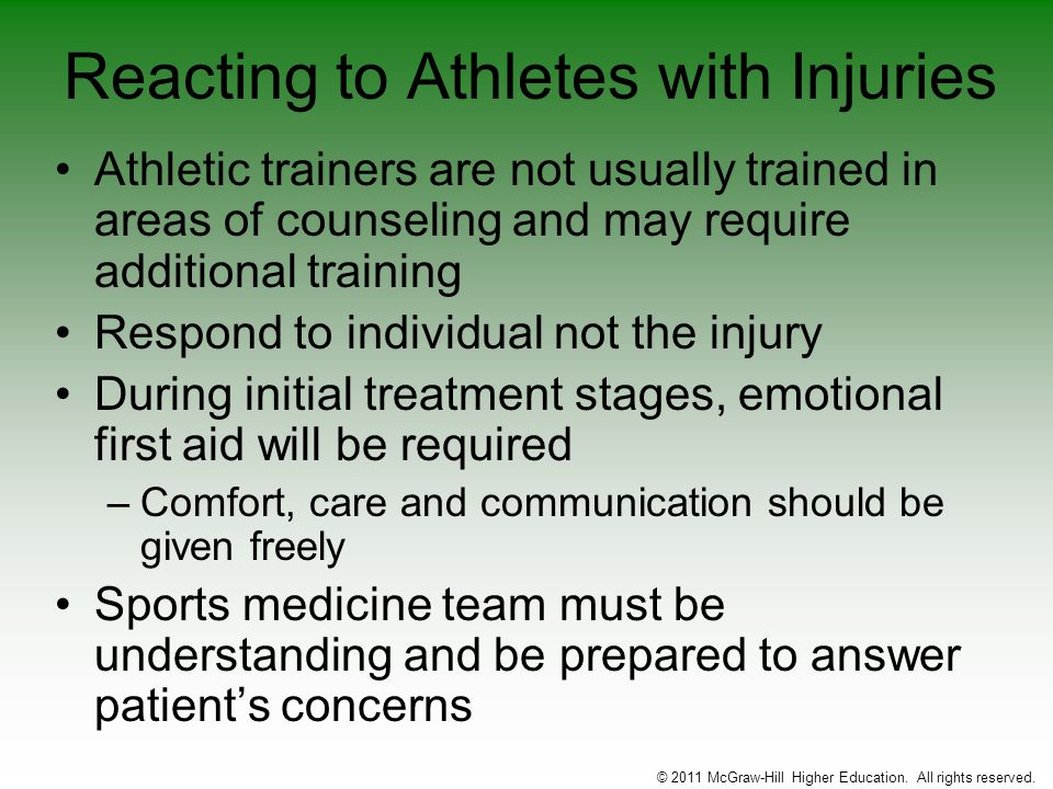 Reacting to Athletes with Injuries Athletic trainers are not usually trained in areas of counseling and may require additional training Respond to ind