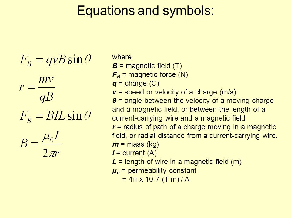 Equations and symbols: where B = magnetic field (T) F B = magnetic force (N) q = charge (C) v = speed or velocity of a charge (m/s) θ = angle between