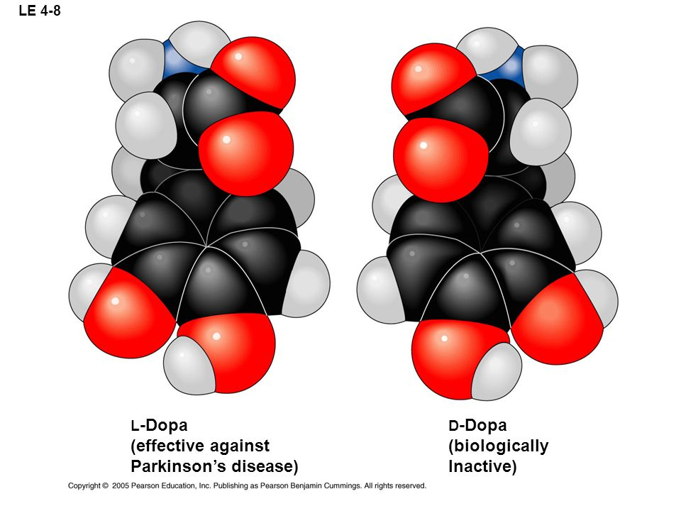 LE 4-8 L -Dopa (effective against Parkinsons disease) D -Dopa (biologically Inactive)