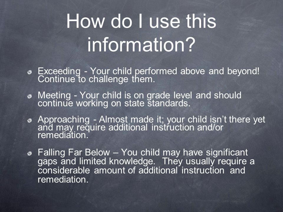 How do I use this information. Exceeding - Your child performed above and beyond.