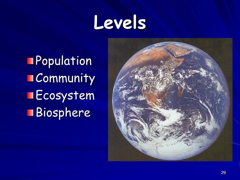 29 Levels PopulationCommunityEcosystemBiosphere